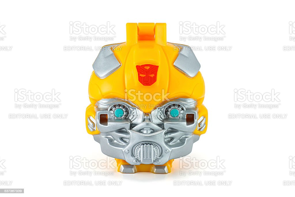 Bumblebee head toy character from TRANSFORMERS Movie. stock photo
