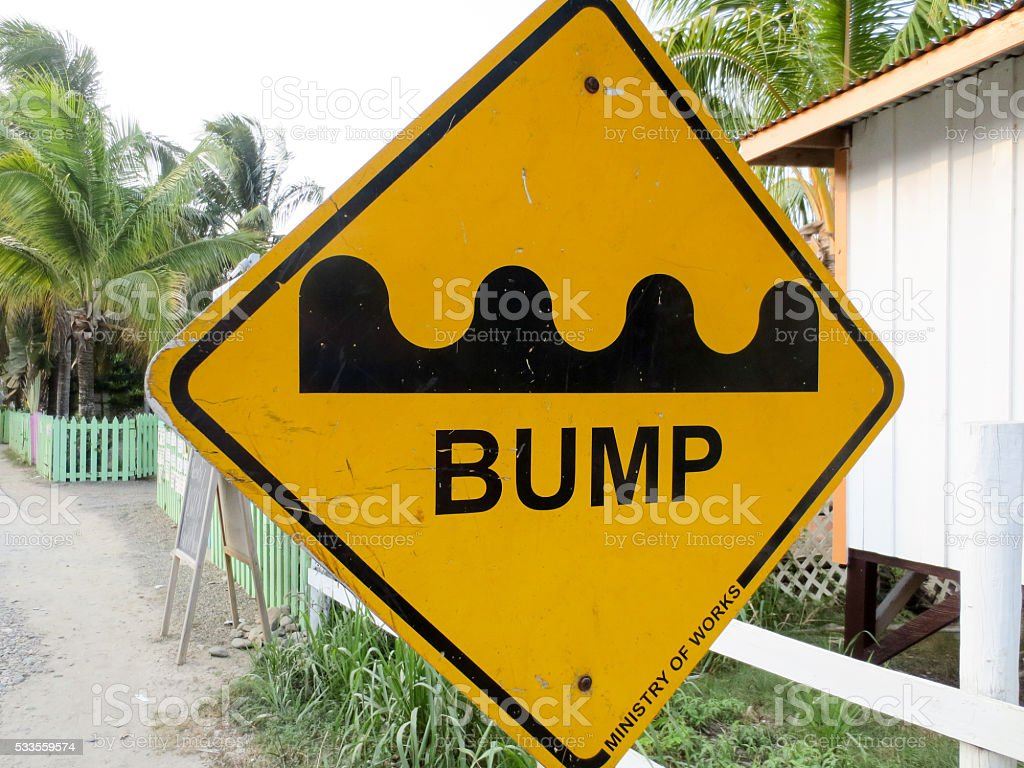 Bump traffic sign in Placencia stock photo