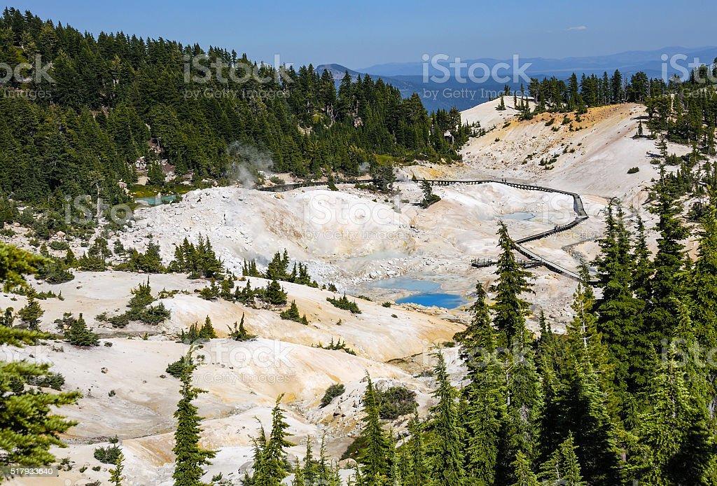 Bumpass Hell at Mount Lassen stock photo
