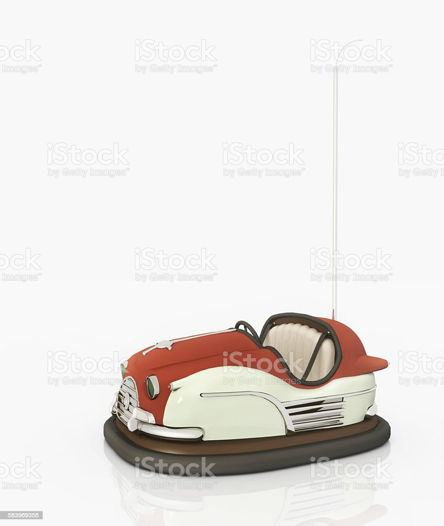Bumper car against a white background stock photo