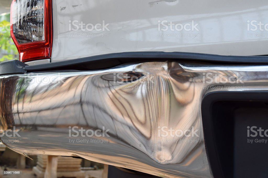bumper of a truck get damage from accident stock photo