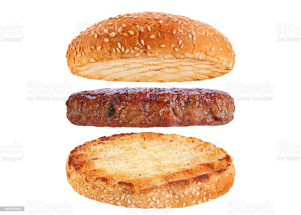 Bun and pork rissole ingredient hamburger stock photo