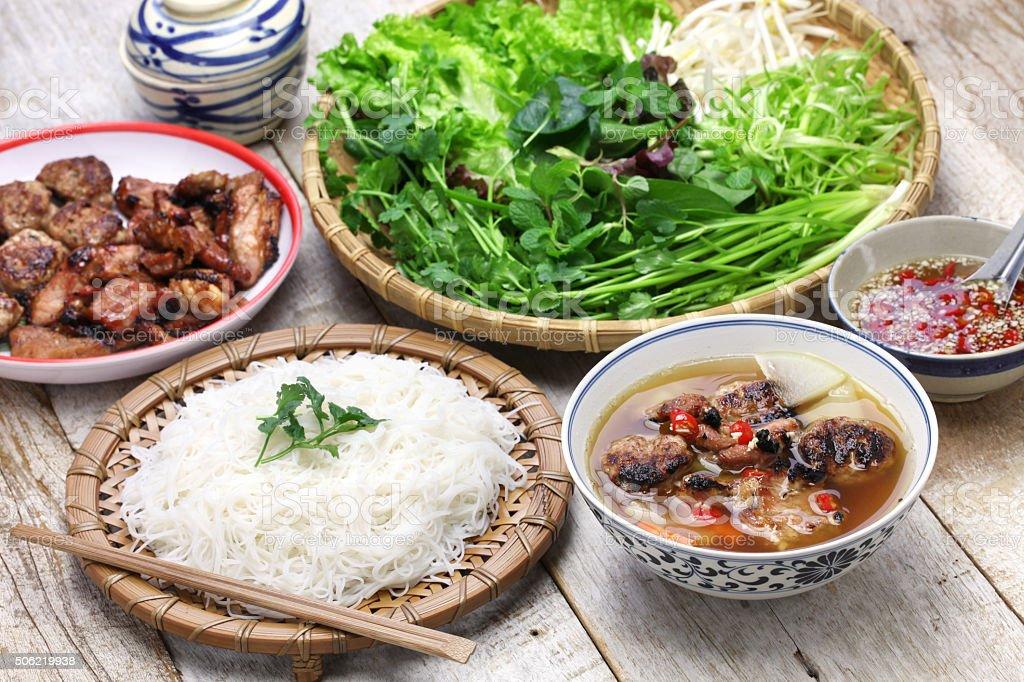 bun cha, vietnamese noodle dish stock photo