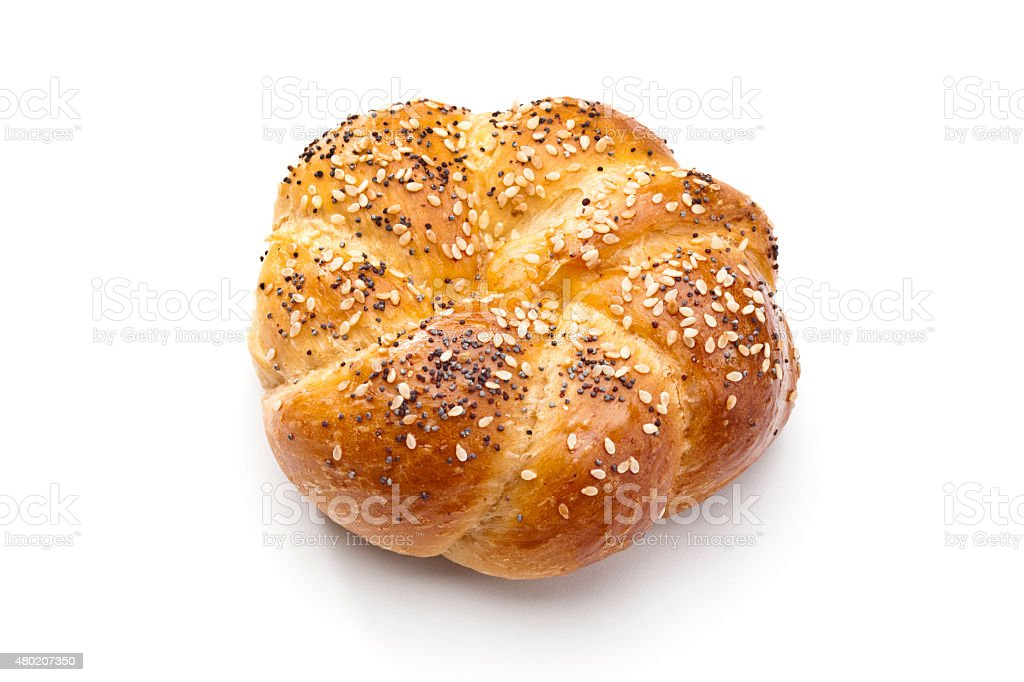 Bun of bread with sesame and poppy seeds stock photo