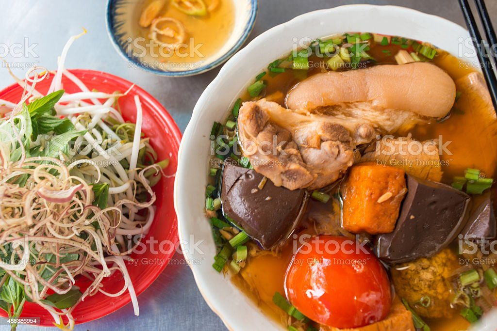Bun Rieu - the famous Vietnamese noodle soup stock photo