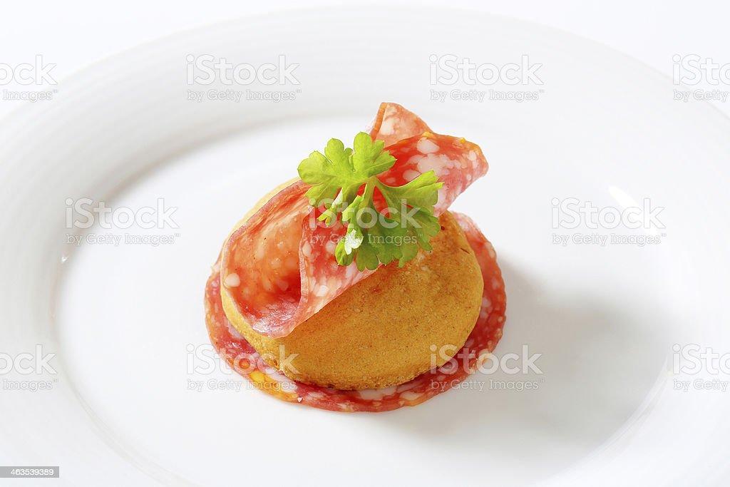 bun with salami royalty-free stock photo