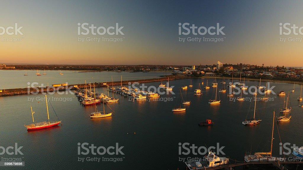 Bunbury boat harbour at dusk stock photo