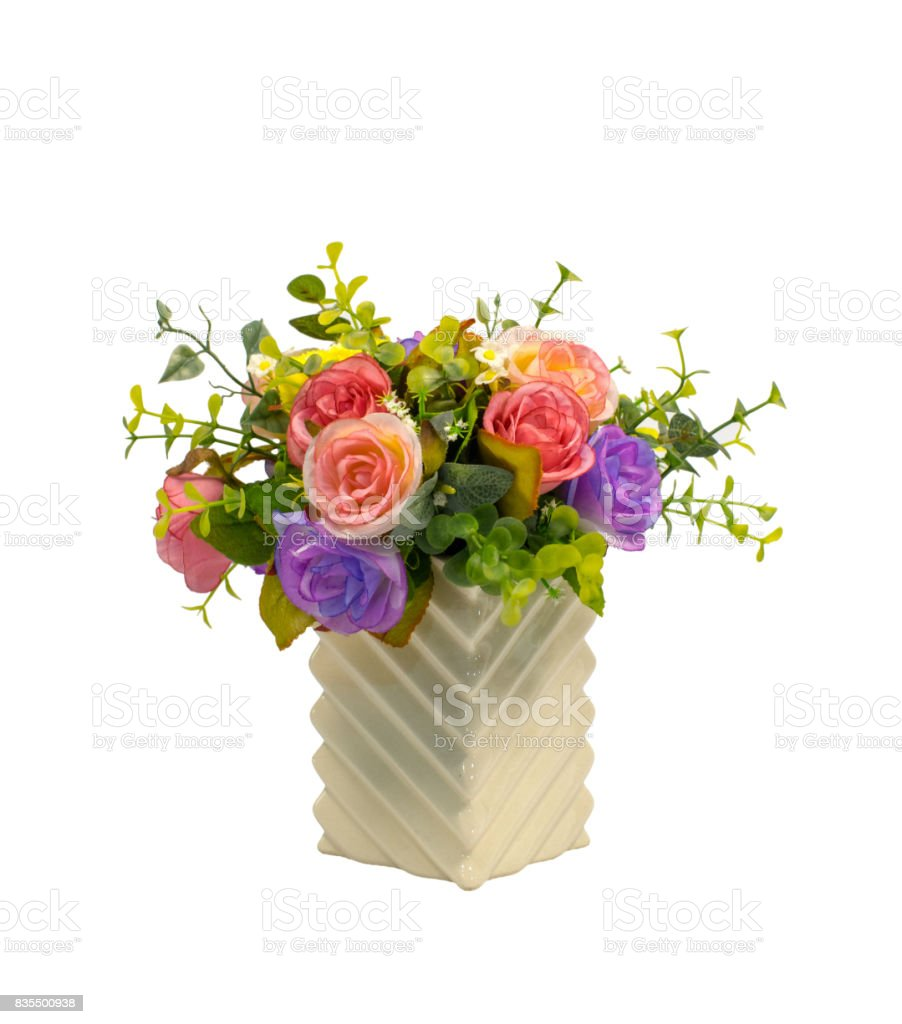 Bunch fake flowers on white background, include clipping path stock photo