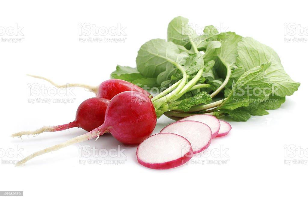 bunch fresh radish with cut stock photo