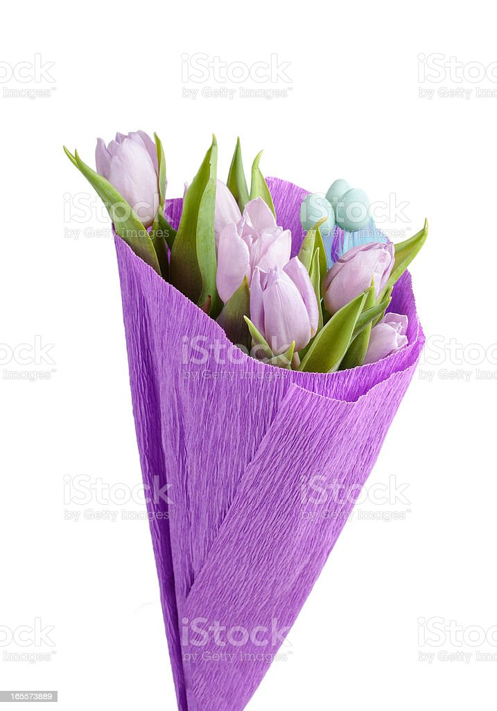 Bunch from easter aggs and tulips royalty-free stock photo