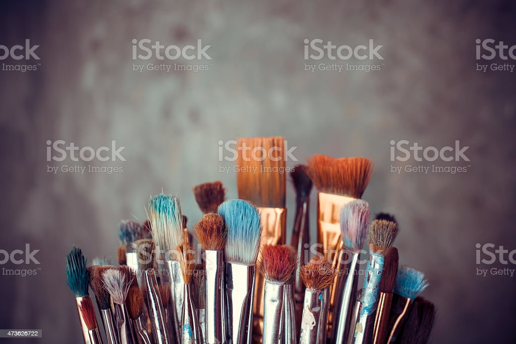 Bunch of artist paintbrushes stock photo