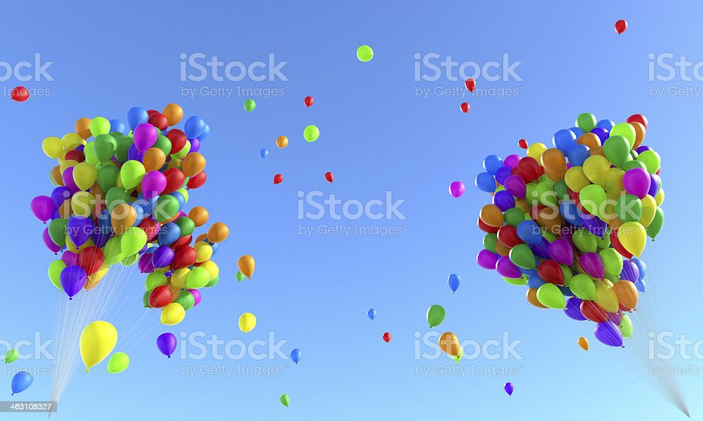 Bunch of balloons flying to the sky stock photo