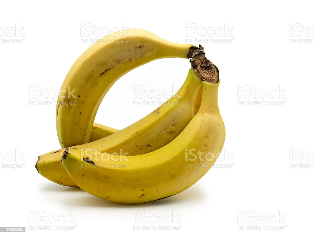 Cacho de bananas isolado no fundo branco foto royalty-free