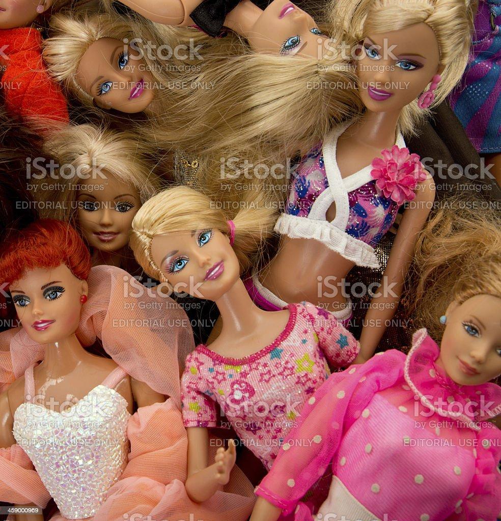 Bunch of Barbie Fashon Dolls royalty-free stock photo