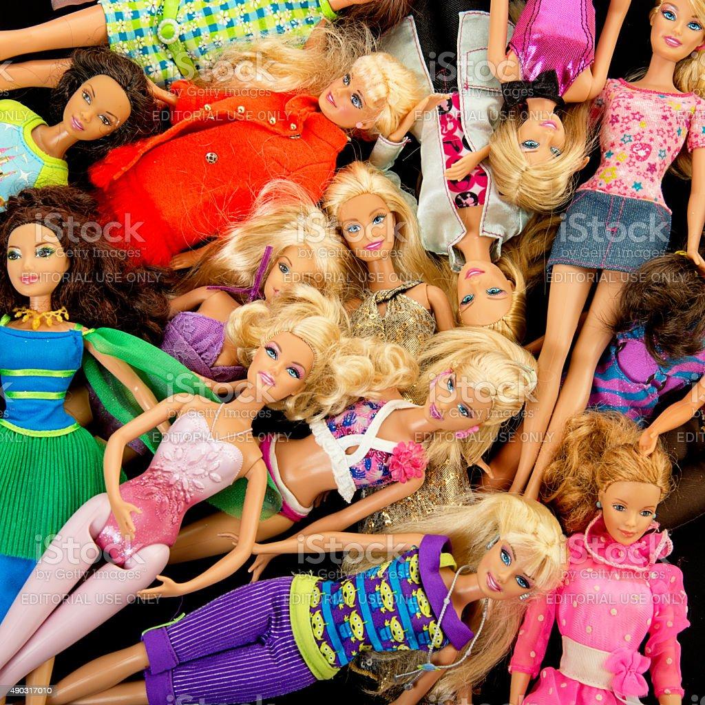 Bunch of Barbie Fashon Dolls stock photo