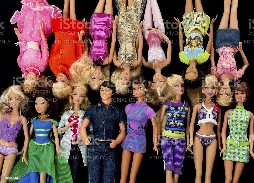 Bunch of Barbie Fashon Dolls with Ken stock photo