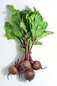 Bunch of Beetroot with Green Leafs on White Background