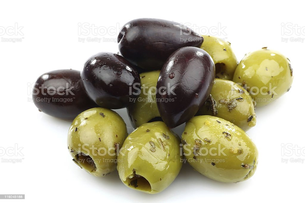bunch of black and seasoned green olives stock photo