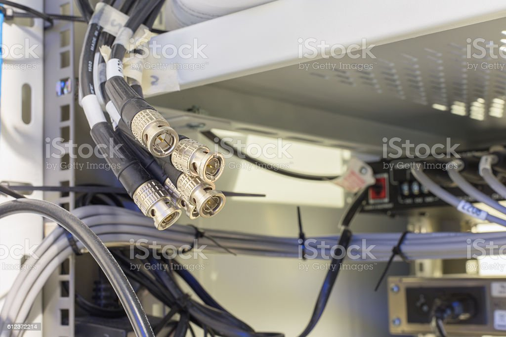 bunch of bnc connector . Available space. stock photo