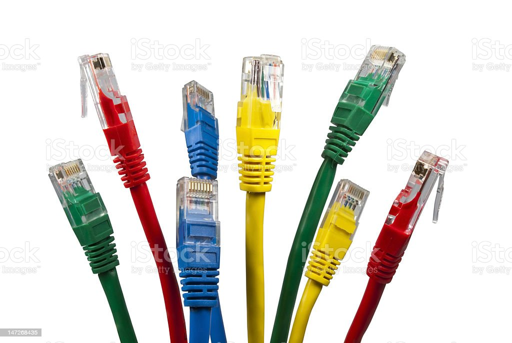 Bunch of brightly multi coloured ethernet network cables royalty-free stock photo