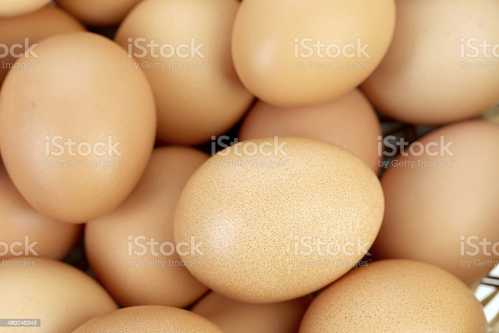 Bunch of brown eggs. stock photo