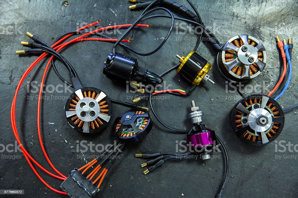 Bunch of brushless brushless electronic motor propeller for drone stock photo