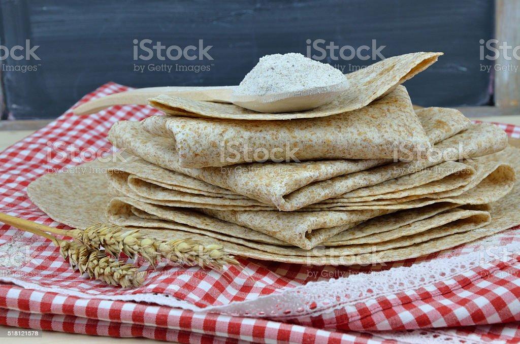 Bunch of Buckwheat Tortillas stock photo