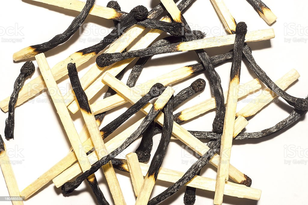 Bunch of burnt matchsticks royalty-free stock photo