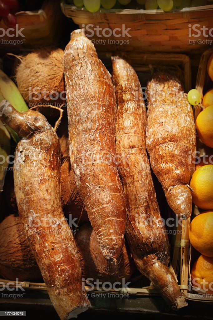 Bunch of cassava fruit in basket stock photo