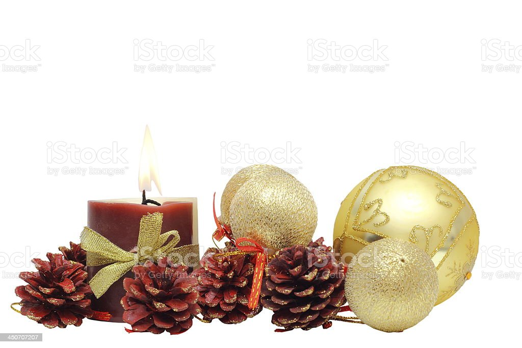 bunch of christmas decoration and candle stock photo