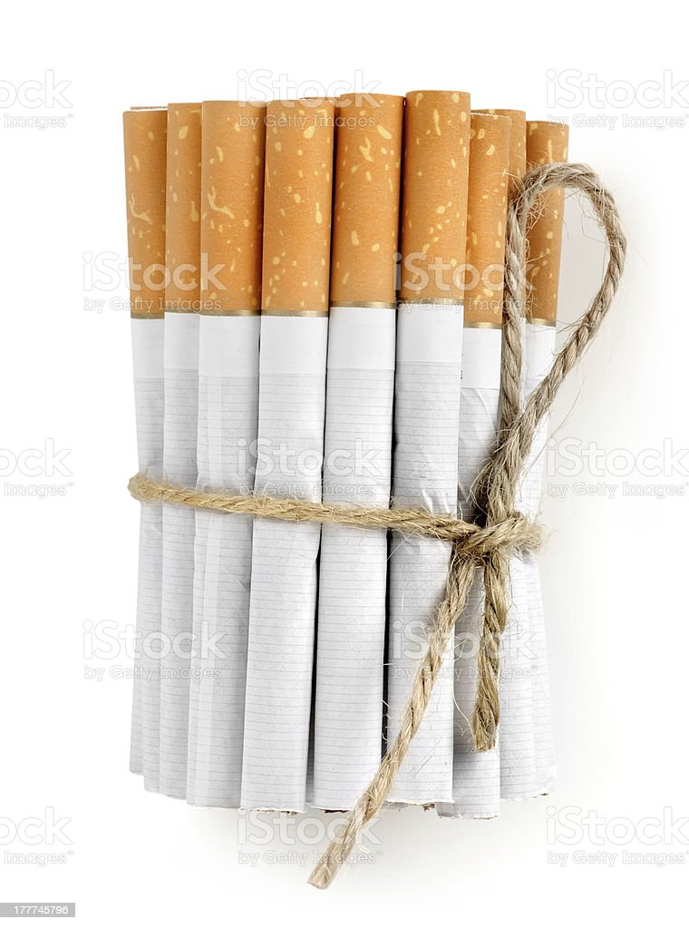 Bunch of cigarettes isolated stock photo