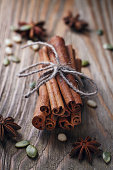 Bunch of cinnamon sticks, star anise