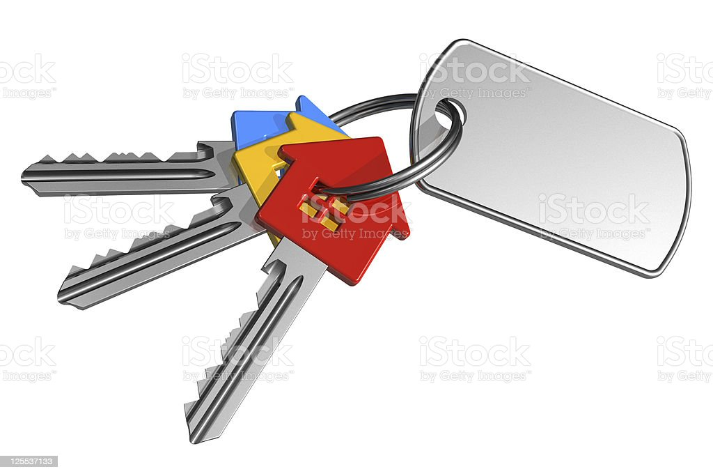 Bunch of color keys with label stock photo