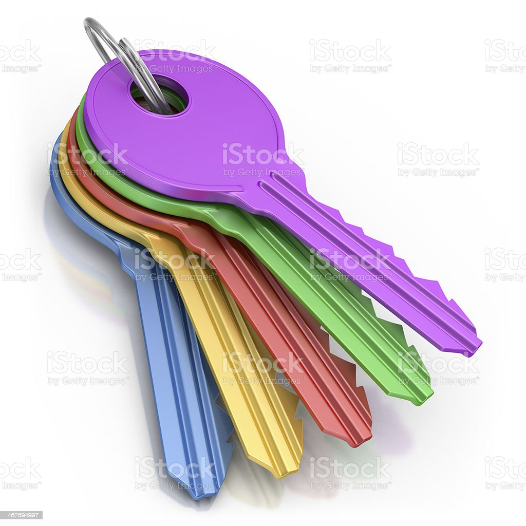 Bunch of Colored Keys stock photo