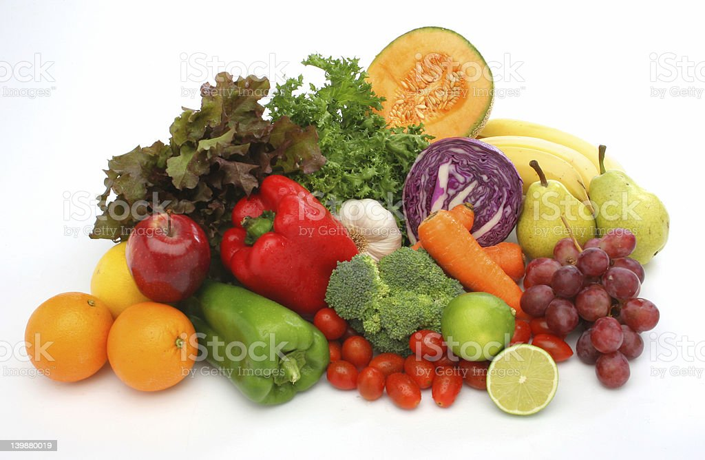 Bunch of colorful fresh vegetables and fruits against white royalty-free stock photo