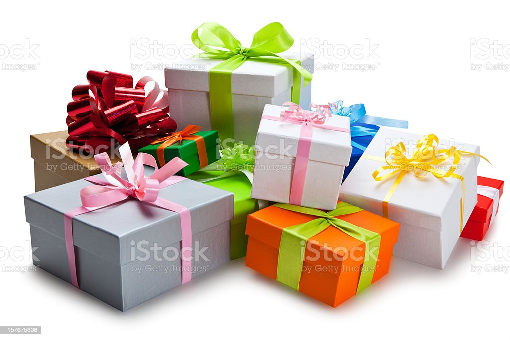Bunch of colorful gifts stacked on each other royalty-free stock photo