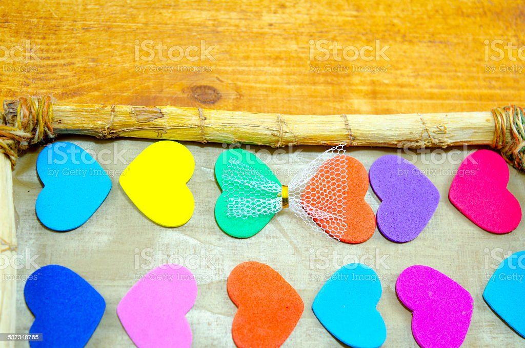 Bunch of colorful hearts in a picture frame royalty-free stock photo