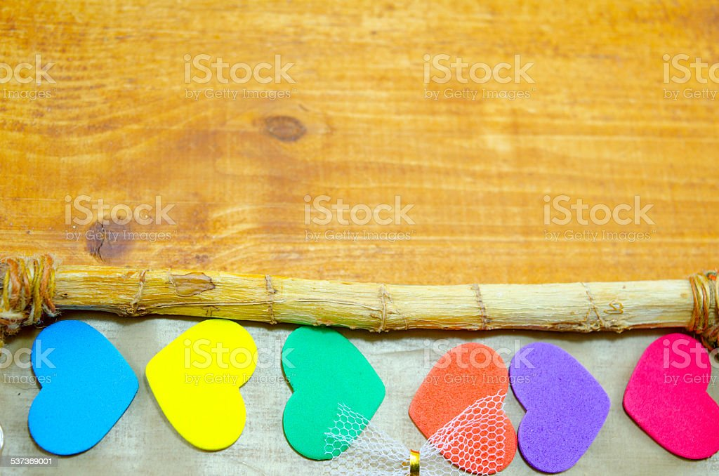 Bunch of colorful hearts on the edge of a frame royalty-free stock photo