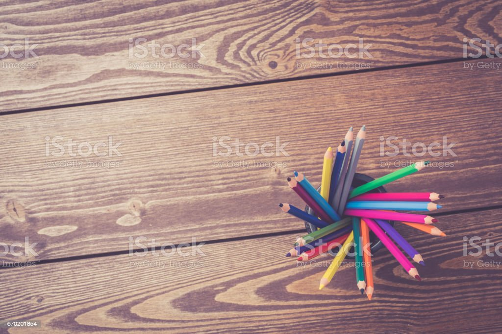 Bunch of colorful pencils stock photo