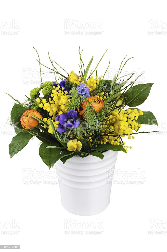 Bunch of Colorful Spring Flowers White Pot stock photo
