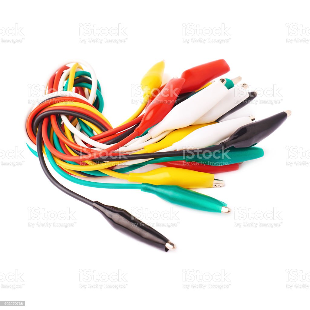 Bunch of colorful wire over isolated white background stock photo