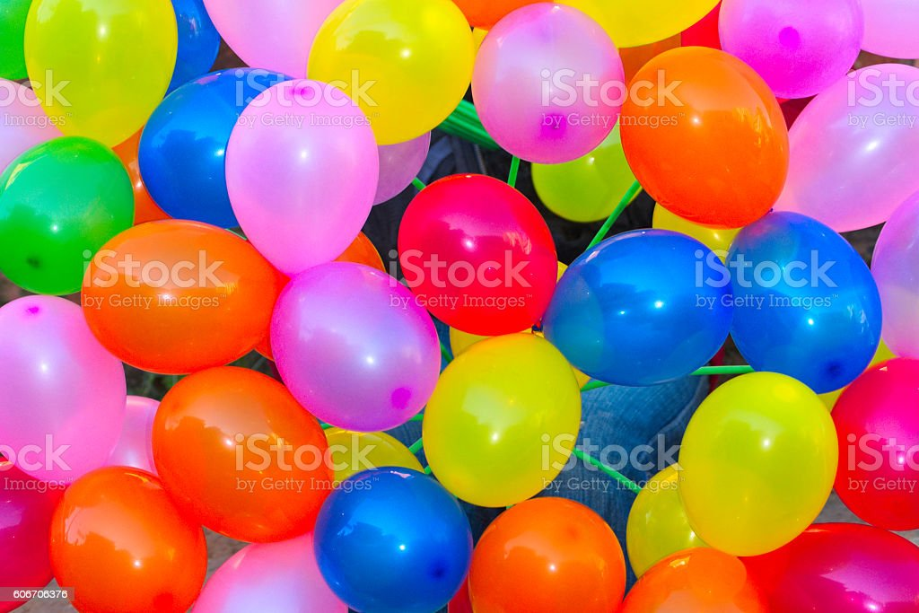 Bunch of colorfull balloons attached together stock photo