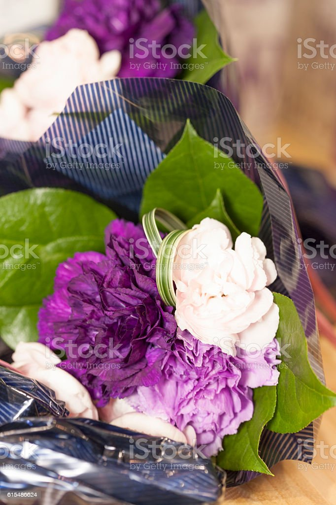 Bunch of cut flowers stock photo