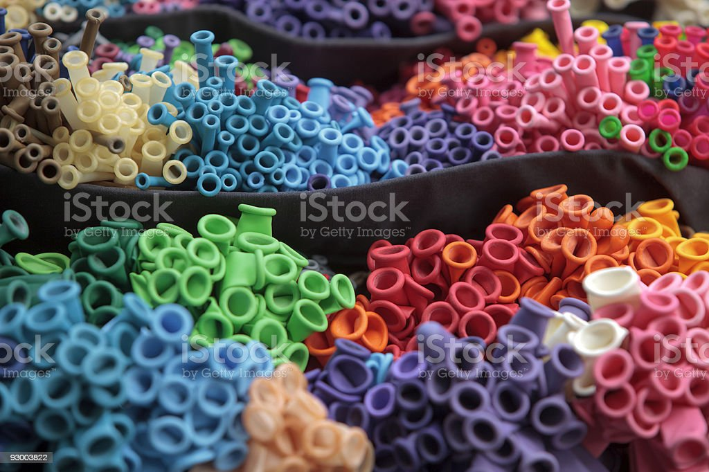 bunch of deflated balloons in different colors royalty-free stock photo