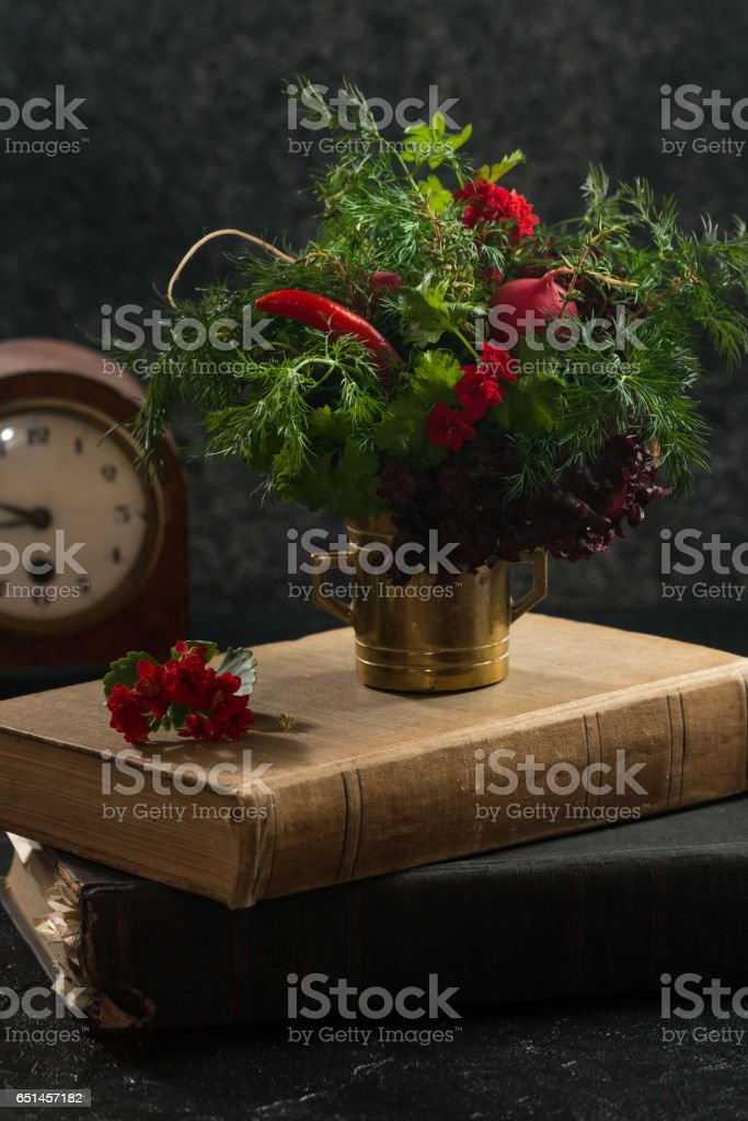 Bunch of different fresh greenery stock photo