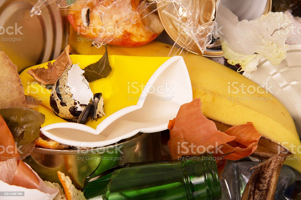 Bunch of different waste close-up texture stock photo