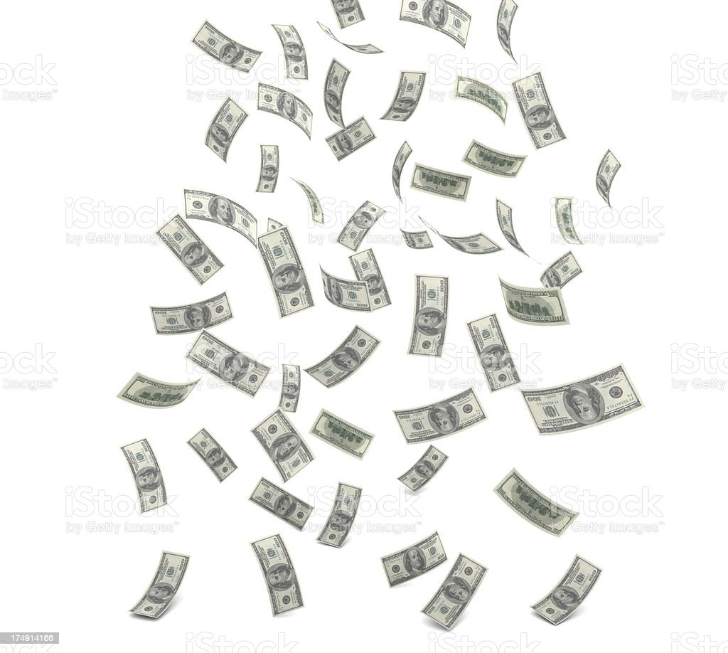 A bunch of dollar bills falling from the sky stock photo