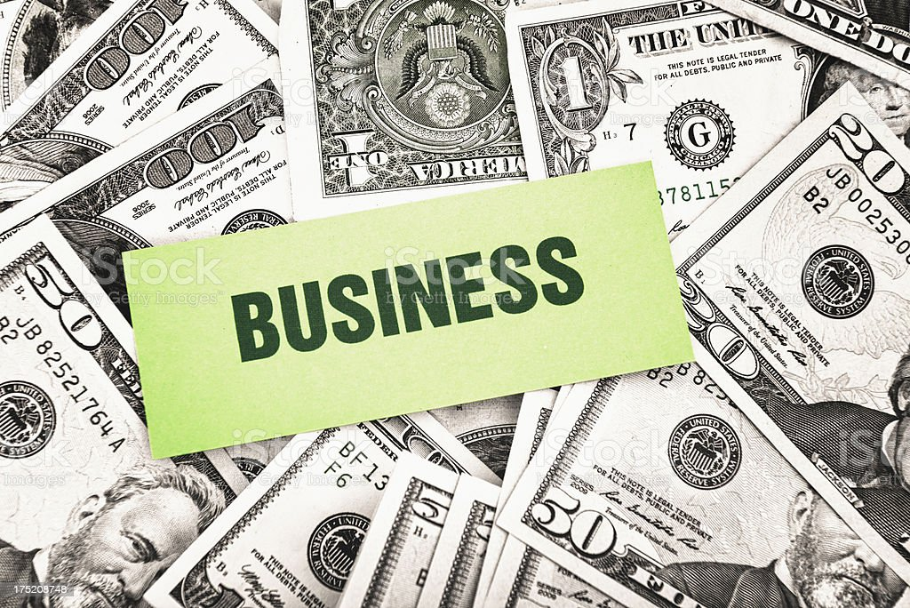 Bunch of dollars with business greetings card royalty-free stock photo