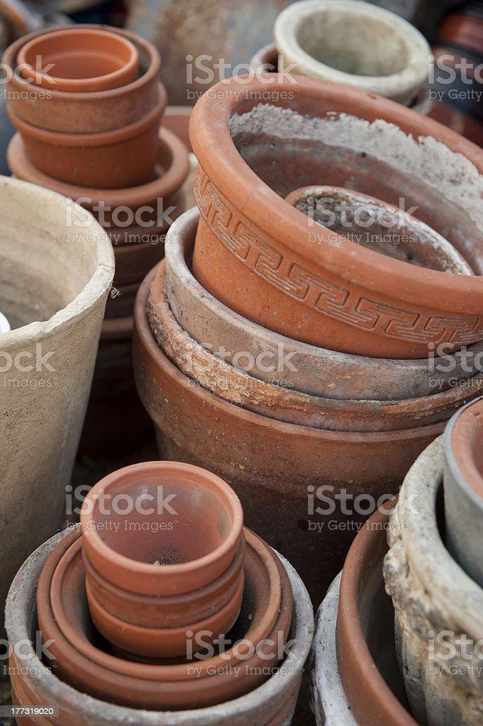 Bunch of empty flower pots. stock photo