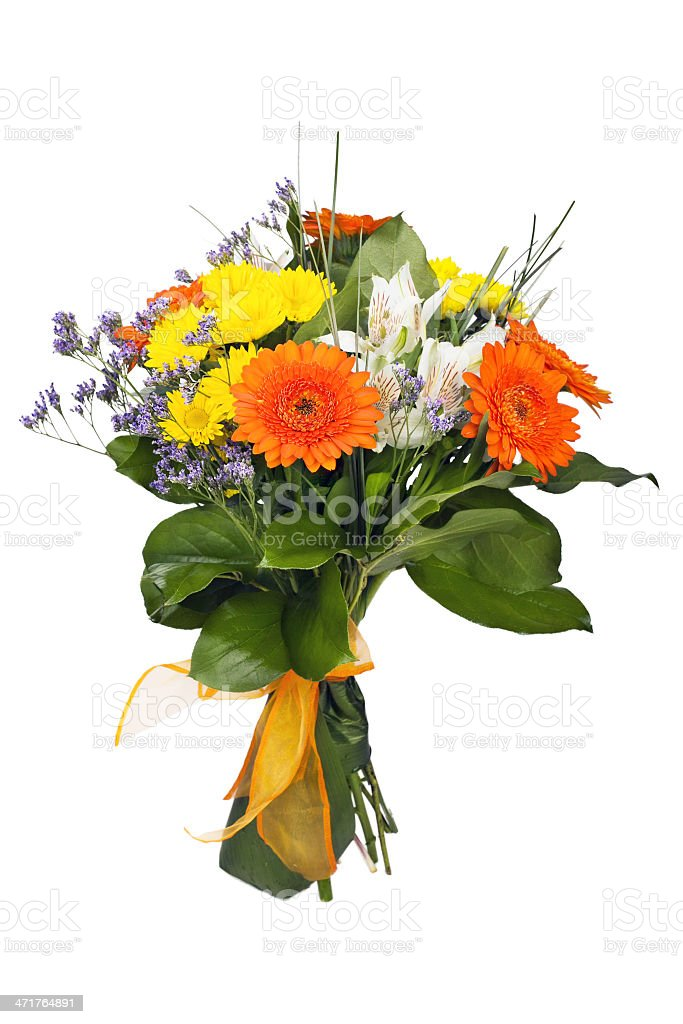 bunch of flowers on a white background stock photo